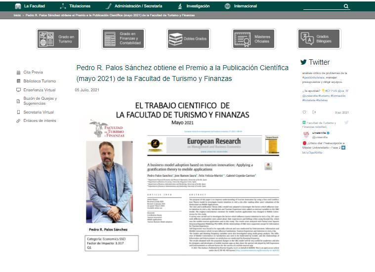 Pedro Palos Premio Publicación Facultad de Finanzas y Turismo Universidad de Sevilla